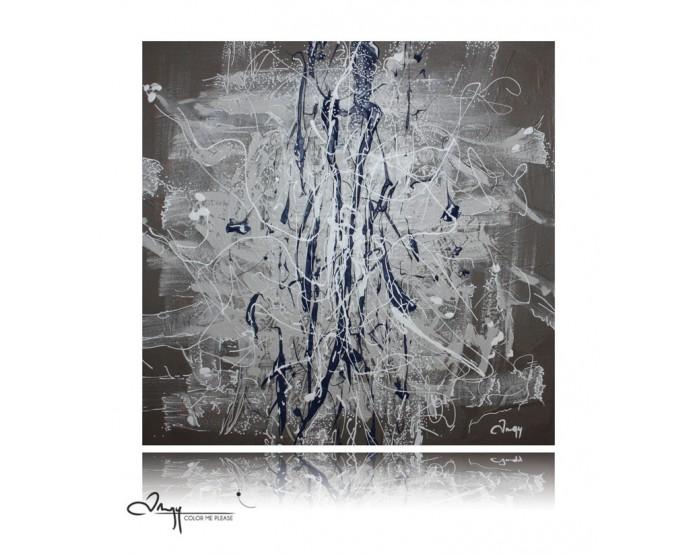 Peinture abstraite nuances brunes aux éclats blancs et bleus